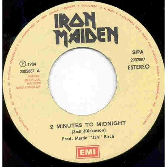 iron maiden 2 Minutes to midnight (Portugal 1985 2-trk 7single unique ps)