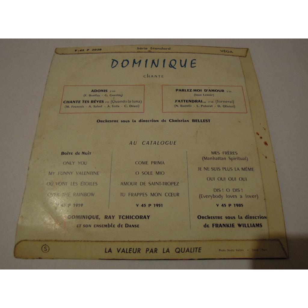 dominique adonis - pochette sans disque