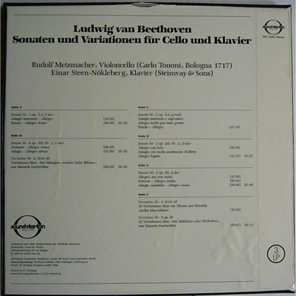 RUDOLF METZMACHER (STROSS QUARTET) Beethoven Cello Sonatas SOUNDSTARTON 3LP BOX MINT