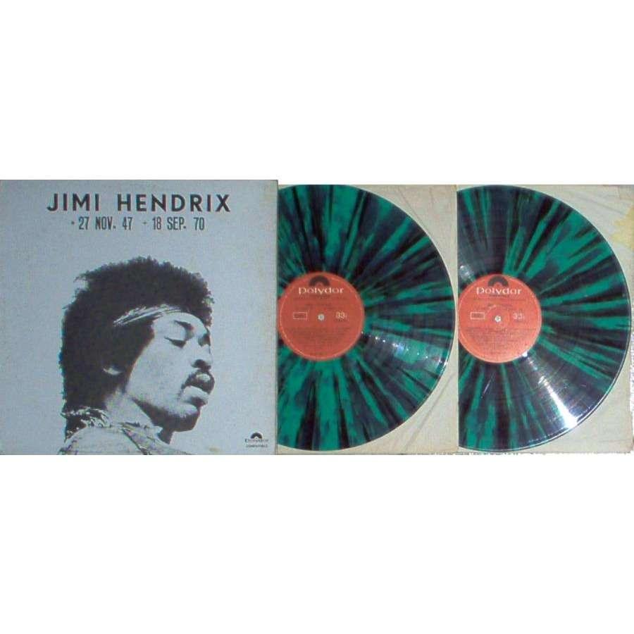 Jimi Hendrix 27 Nov. 47-18 Sept. 70 (Venezuela 70s Ltd 2LP GREEN-BLACK wax unique gf ps)