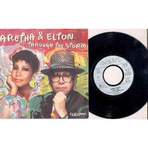 Elton John / Aretha Franklin THROUGH THE STORM (GERMAN 1989 2-TRK 7 FULL PS)
