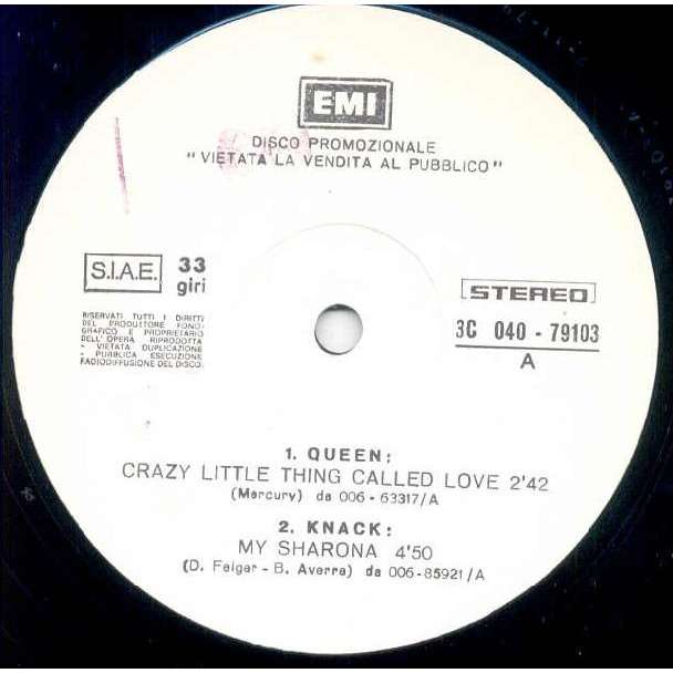 The Knack MY SHARONA (ITALIAN 1979 W/LABEL 12 PROmo SAMPLER EMI SLV)
