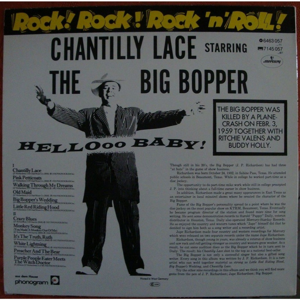 Chantilly Lace By The Big Bopper Lp With Redhouse Ref