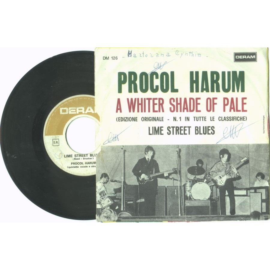 Procol Harum A Whiter Shade of Pale (Italian 1967 2-trk 7single unique ps)