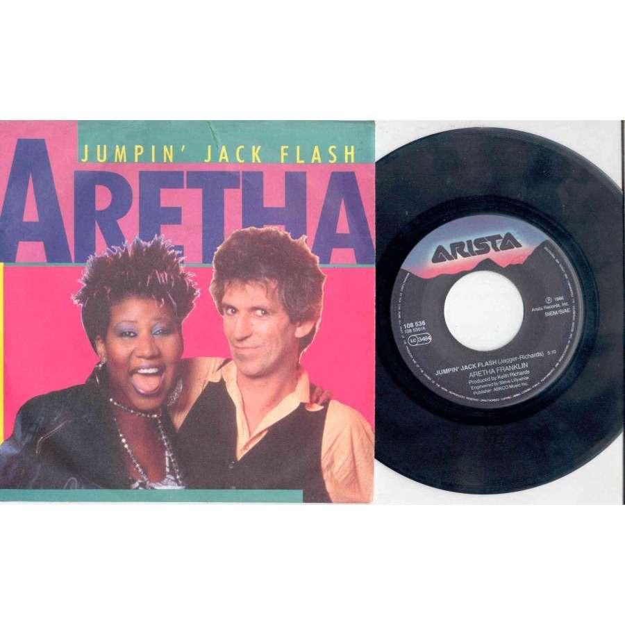 Rolling Stones / Keith Richards / Aretha Franklin Jumpin' Jack Flash (Italian 1986 2-trk 7 single full ps)