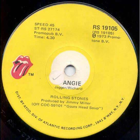 Rolling Stones Angie (South Africa 1973 2-trk 7single on RS lbl)