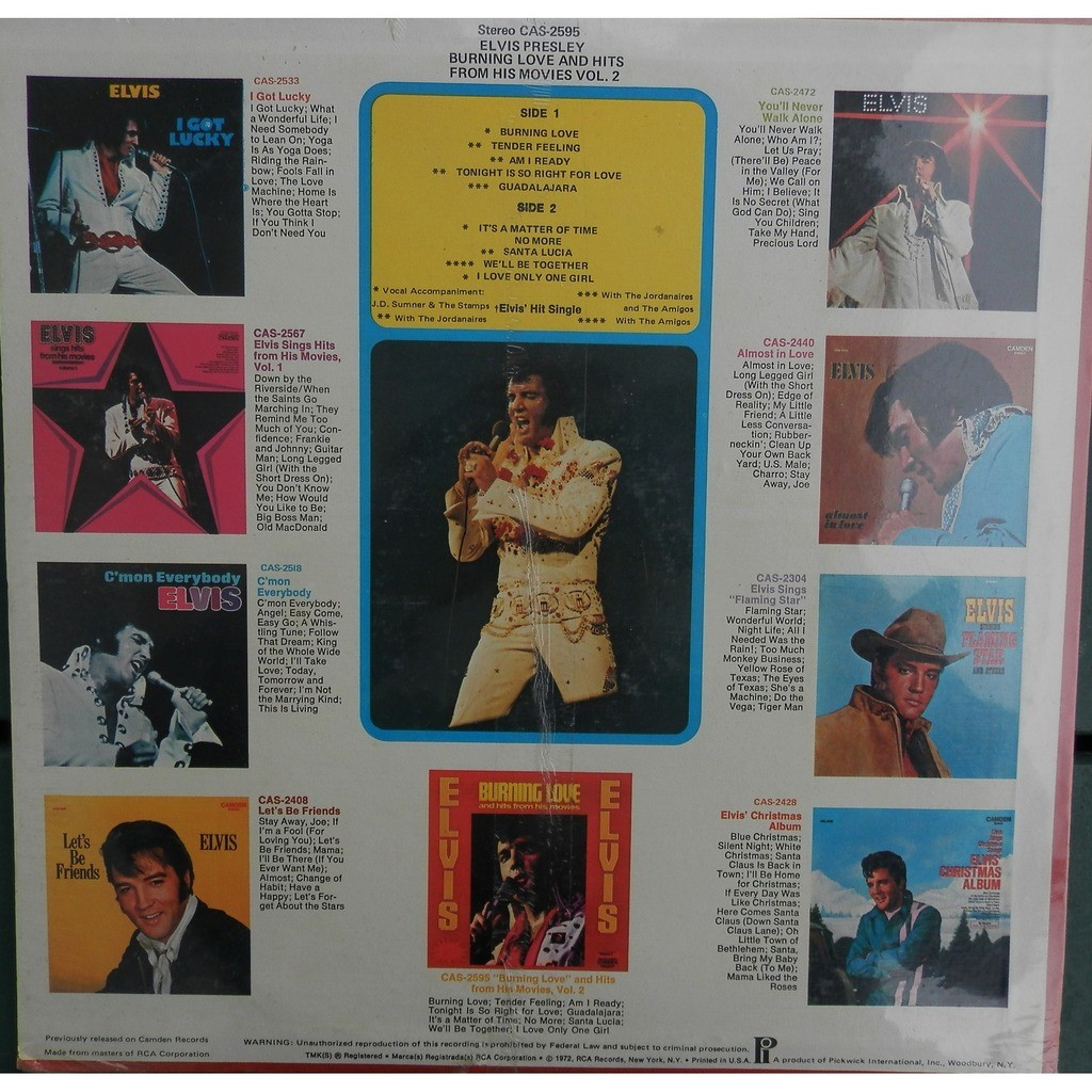 elvis presley BURNING LOVE and hits from his movies 1 er press