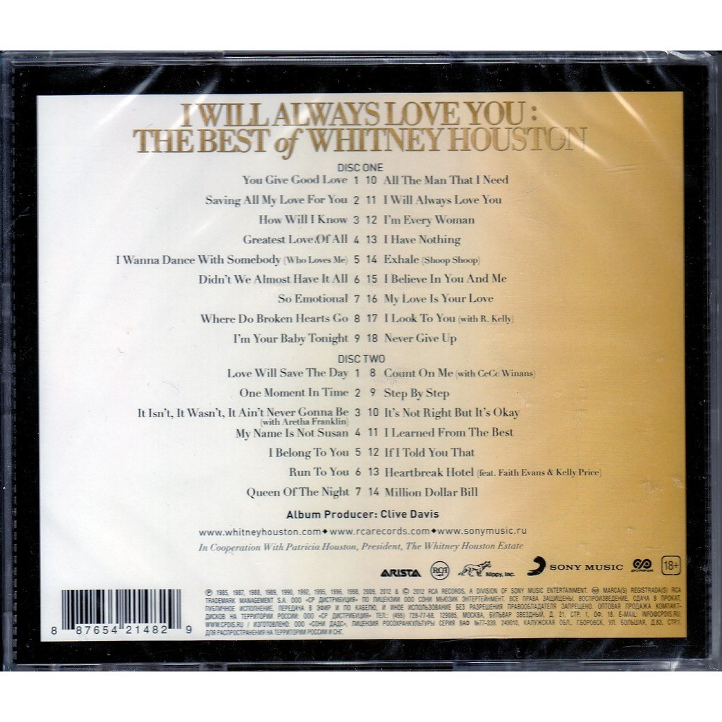 I Will Always Love You The Best Of Whitney Houston 2cd By