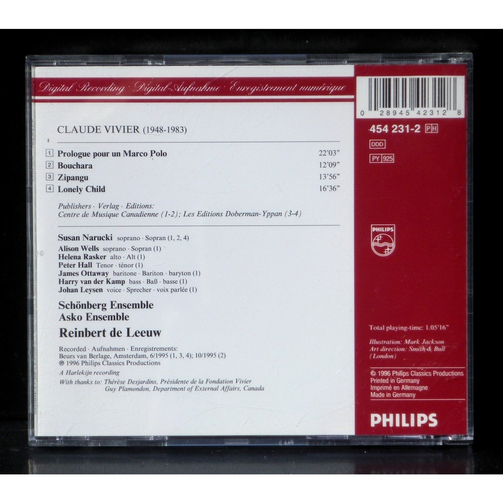 Cd claude vivier lonely child prologue pour marco polo zipangu ...