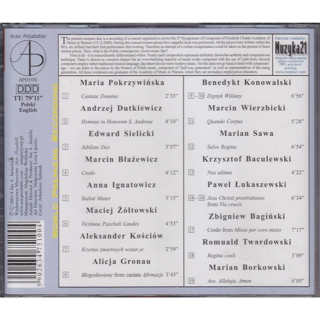 Warsaw composers vol 1 21st century polish choral music by Jan Lukaszewski,  CD with rarervnarodru