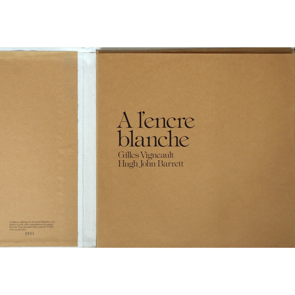 Gilles Vignault, illustrations Hugh Jhon Barrett A l'encre blanche