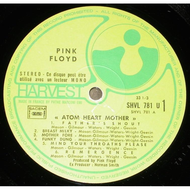 PINK FLOYD ATOM HEART MOTHER HARVEST SHVL 781 / 2C 064 04550