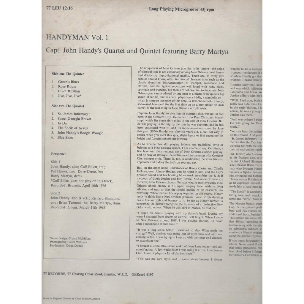 Handyman vol 1 by Capt John Handy'S Quartet & Quintet, LP with prenaud