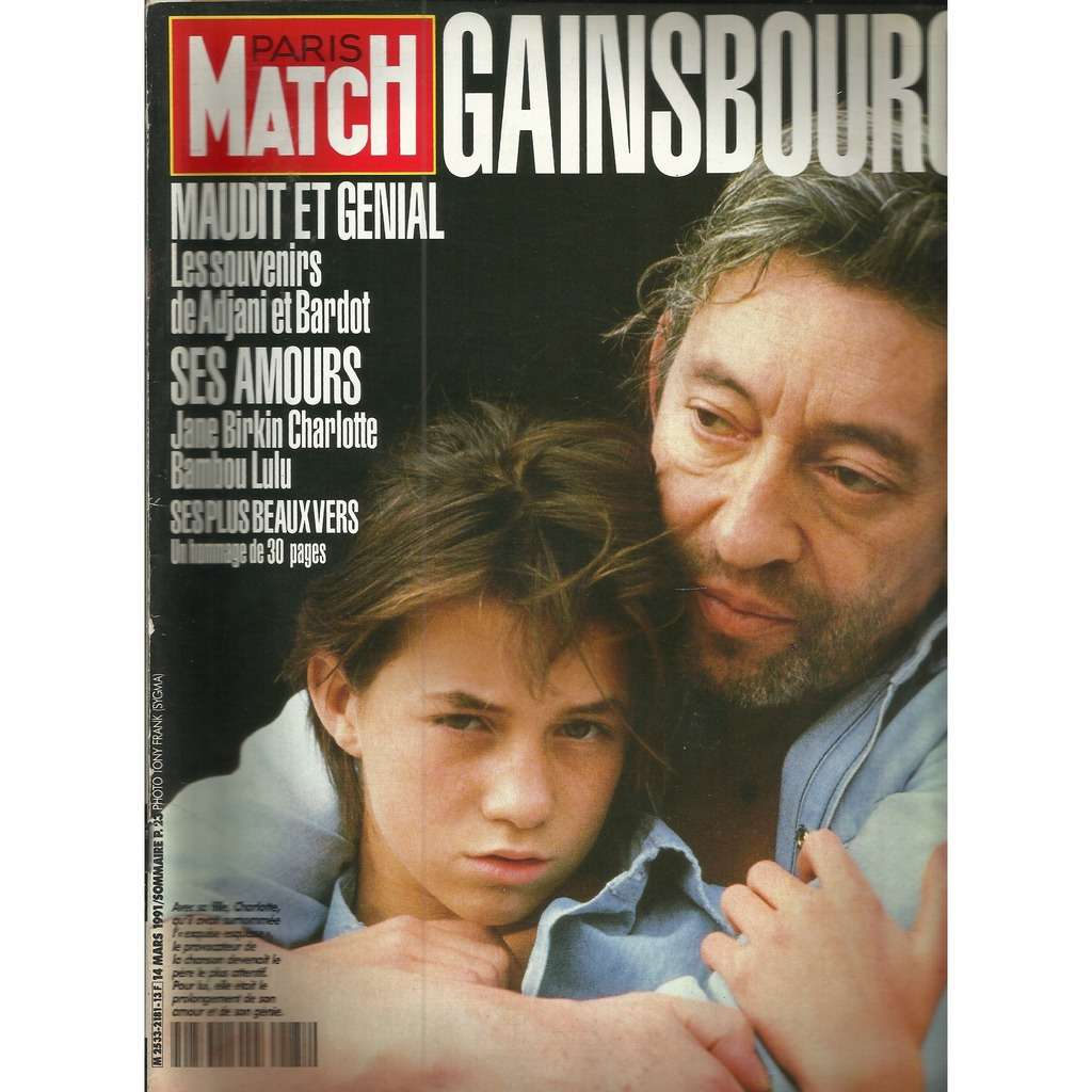 Serge Gainsbourg Paris Match N° 2181 :
