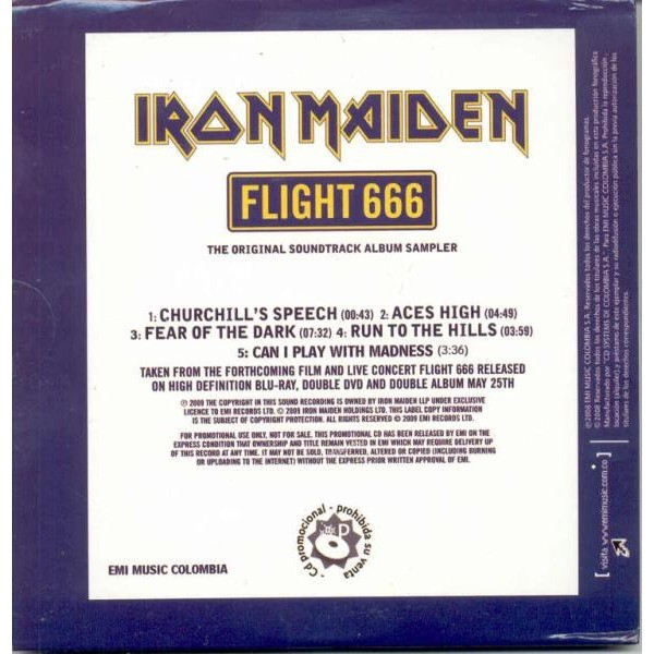 Iron Maiden FLIGHT 666-THE OST ALBUM SAMPLER (COLOMBIA 2008 LTD 5-TRK PROMO CD SAMPLER UNIQUE card ps)