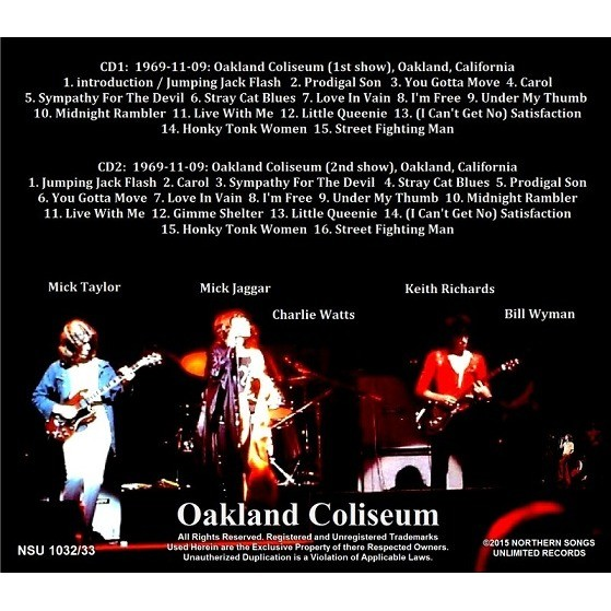 Live Oakland Coliseum 1969 Ltd 2 Cd By The Rolling Stones