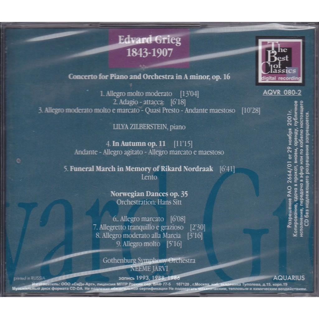 Grieg piano concerto, in autumn op 11, funeral march in memory rikard  nordraak, norwegian dances by Lilya Zilberstein / Neeme Jarvi, CD with