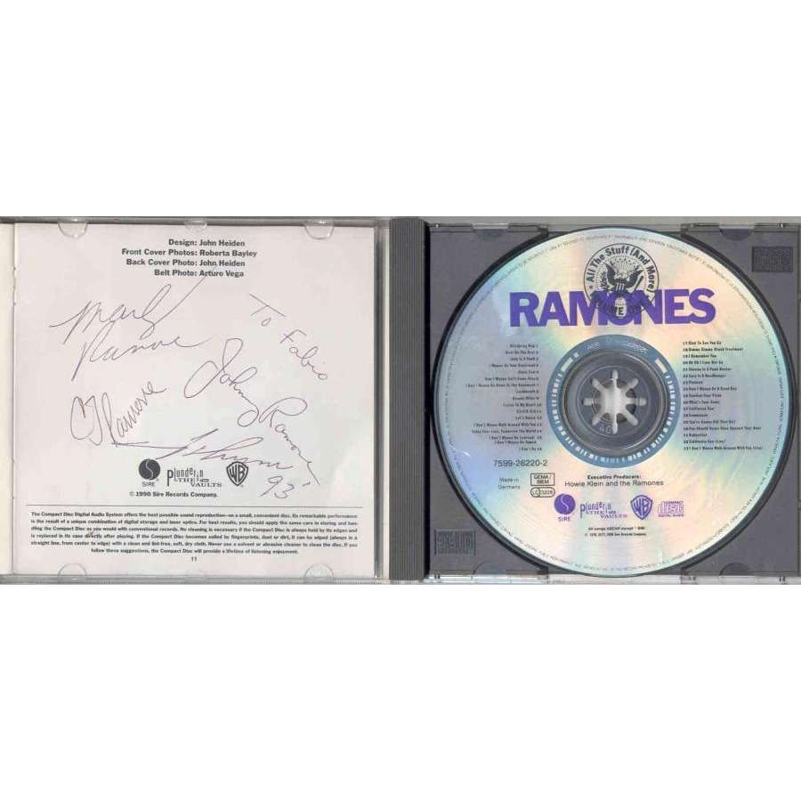 Ramones All The Stuff (And More) (German 1990 'fully Signed' 33-trk CD album GREAT)