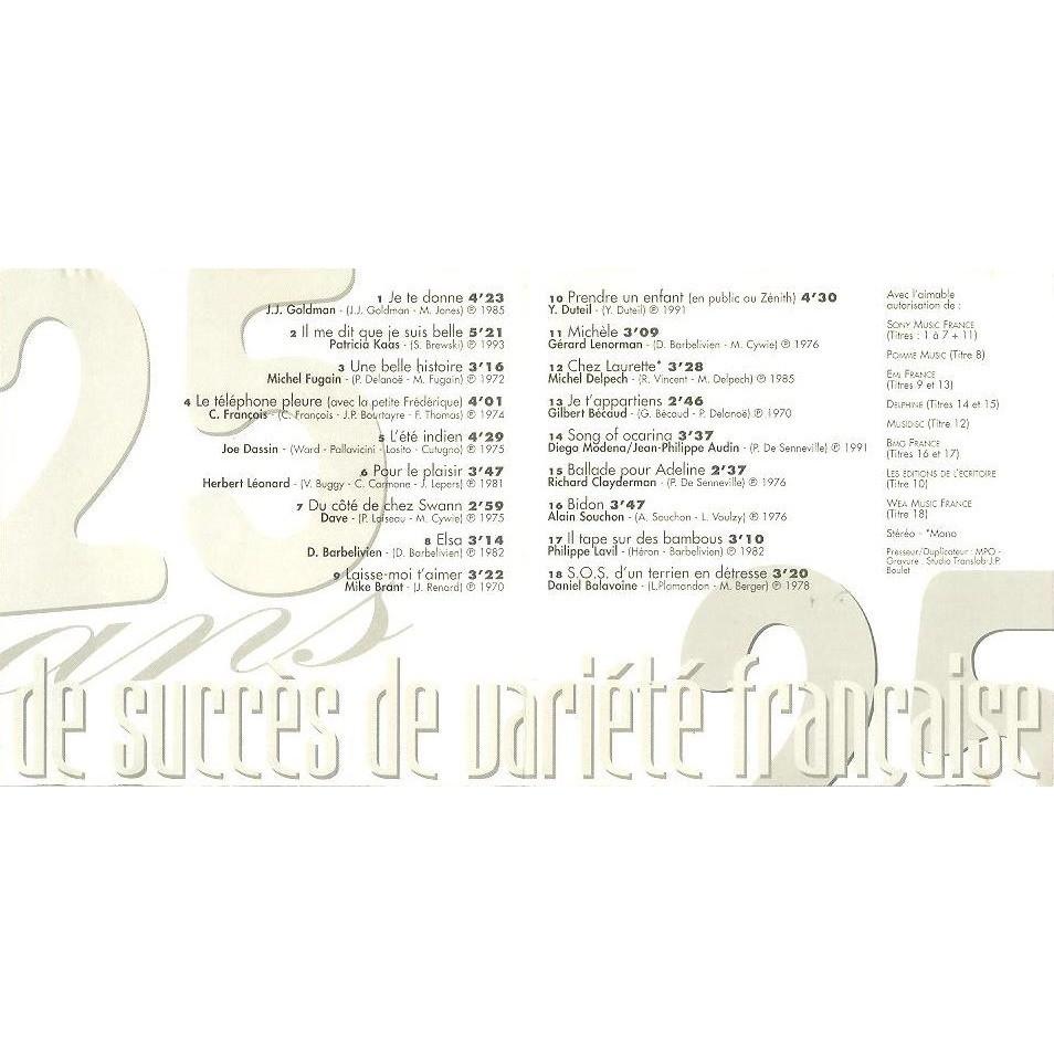 Jean-Jacques Goldman, Bécaud, Delpech, Barbelivien 25 ans de succès de variété française