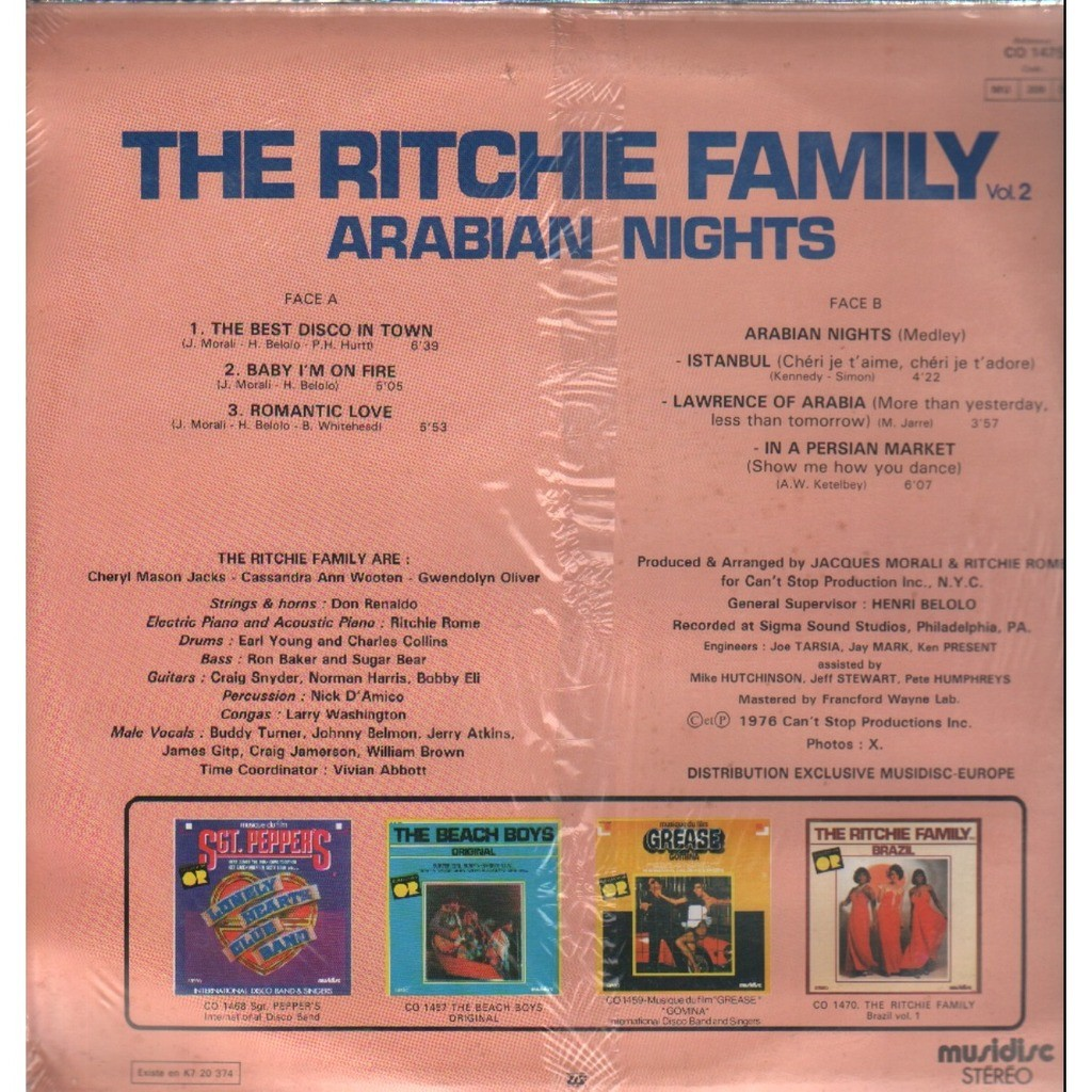 Arabian Nights Vol 1 By The Ritchie Family Lp With Grigo