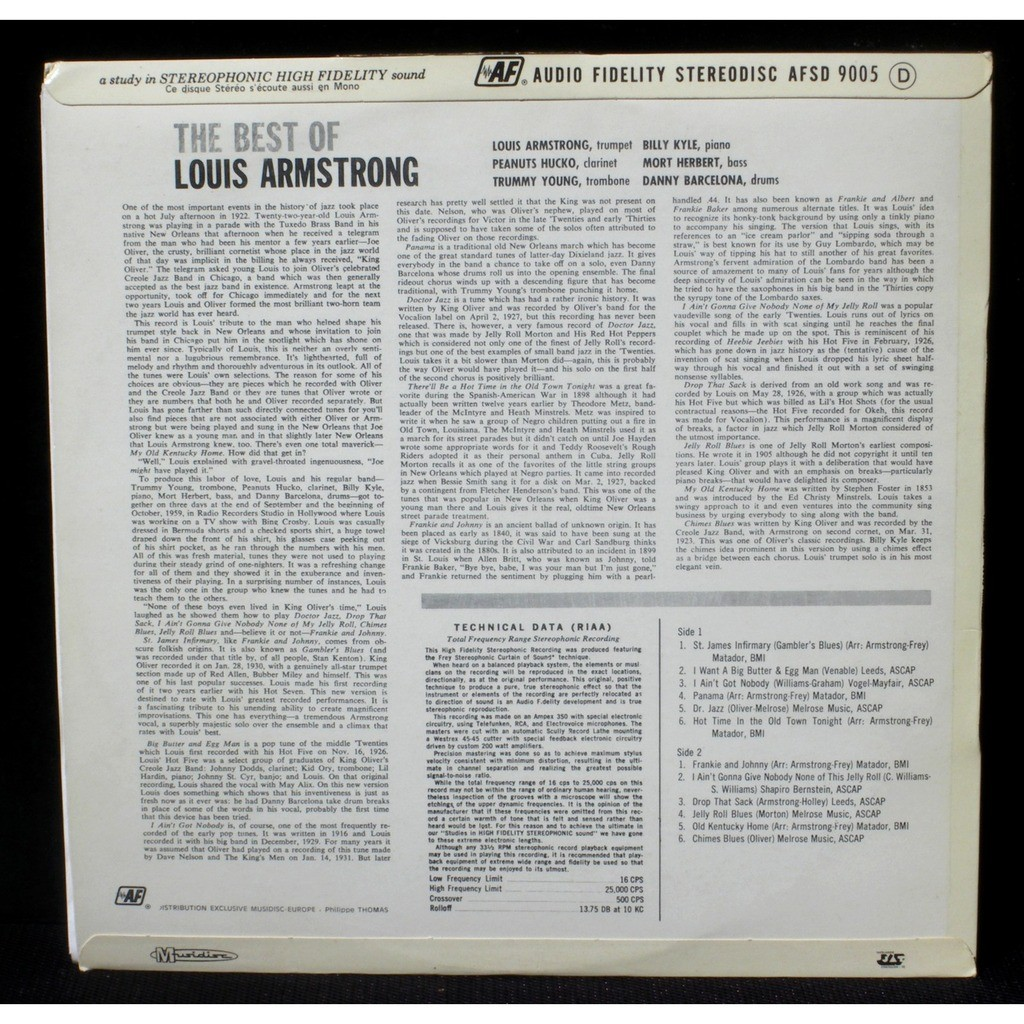 Louis armstrong the best of afsd 9005 lp nm, cv ex by Louis ...