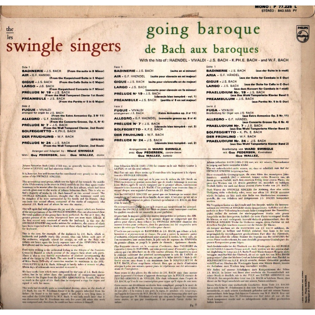 swingle singers Going Baroque - de Bach aux baroques