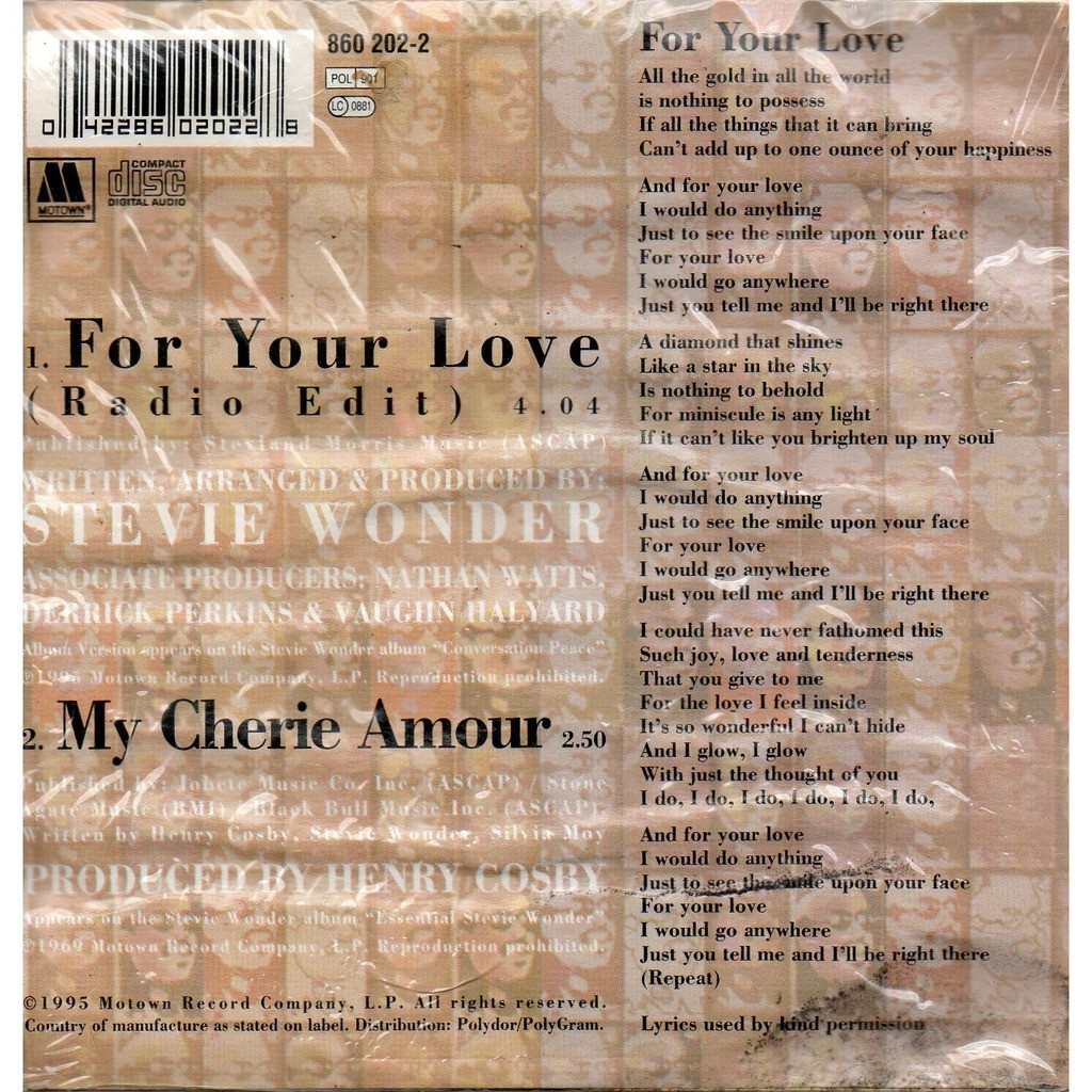 For Your Love My Cherie Amour By Stevie Wonder Cds With