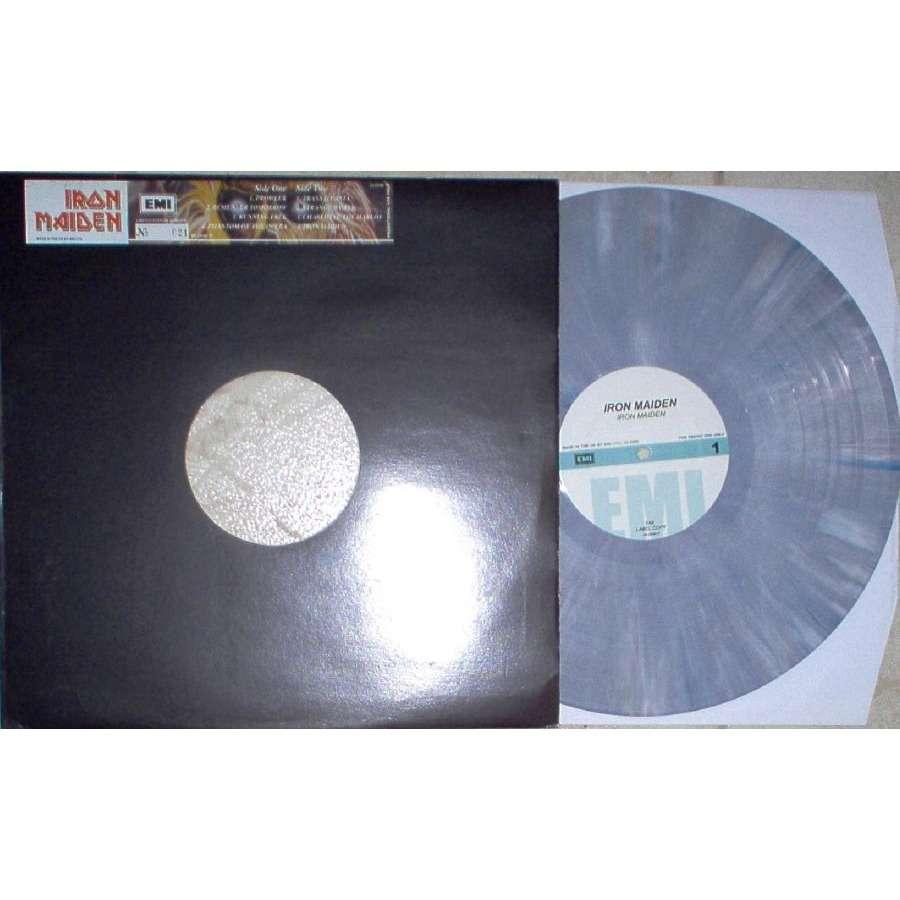 Iron Maiden Iron Maiden (UK Ltd promo 8-trk LP GREY MARBLED vinyl die-cut sticker ps)