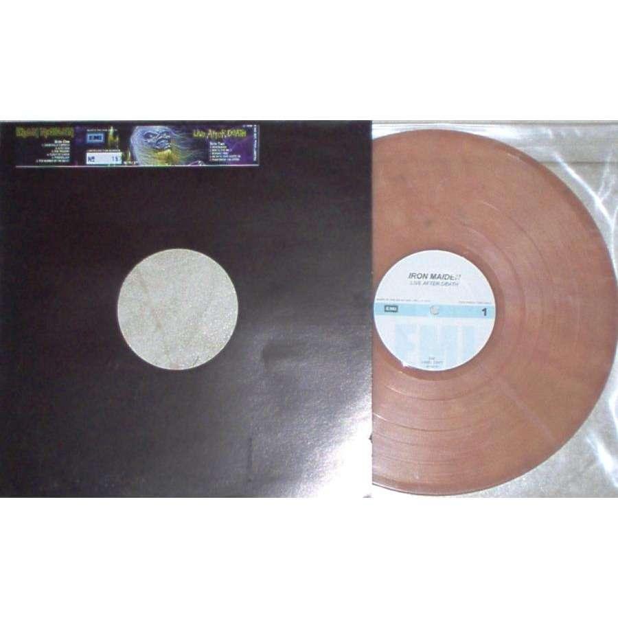 iron maiden Live After Death (UK 2001 Ltd re 11-trk promo single LP marbled vinyl die-cut sticker ps)