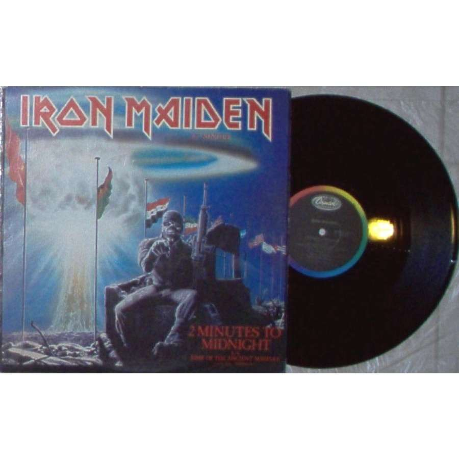iron maiden 2 Minutes to Midnight (USA 1984 Ltd 2-trk promo 12EP on Capitol lbl unique ps)