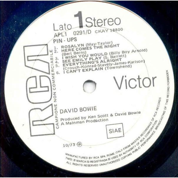 David Bowie Pinups (Italian 1973 w/label Lp promo ps & inner slv)