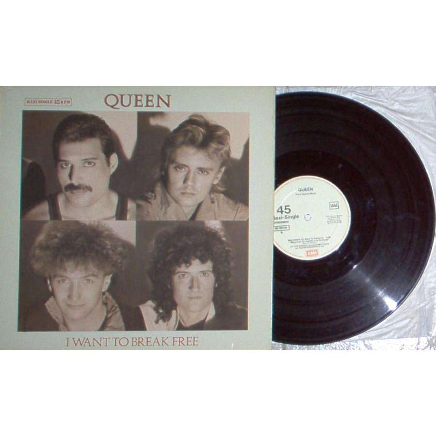 Queen I Want To Break Free (Spanish 1984 2-trk 12EP unique white border ps)