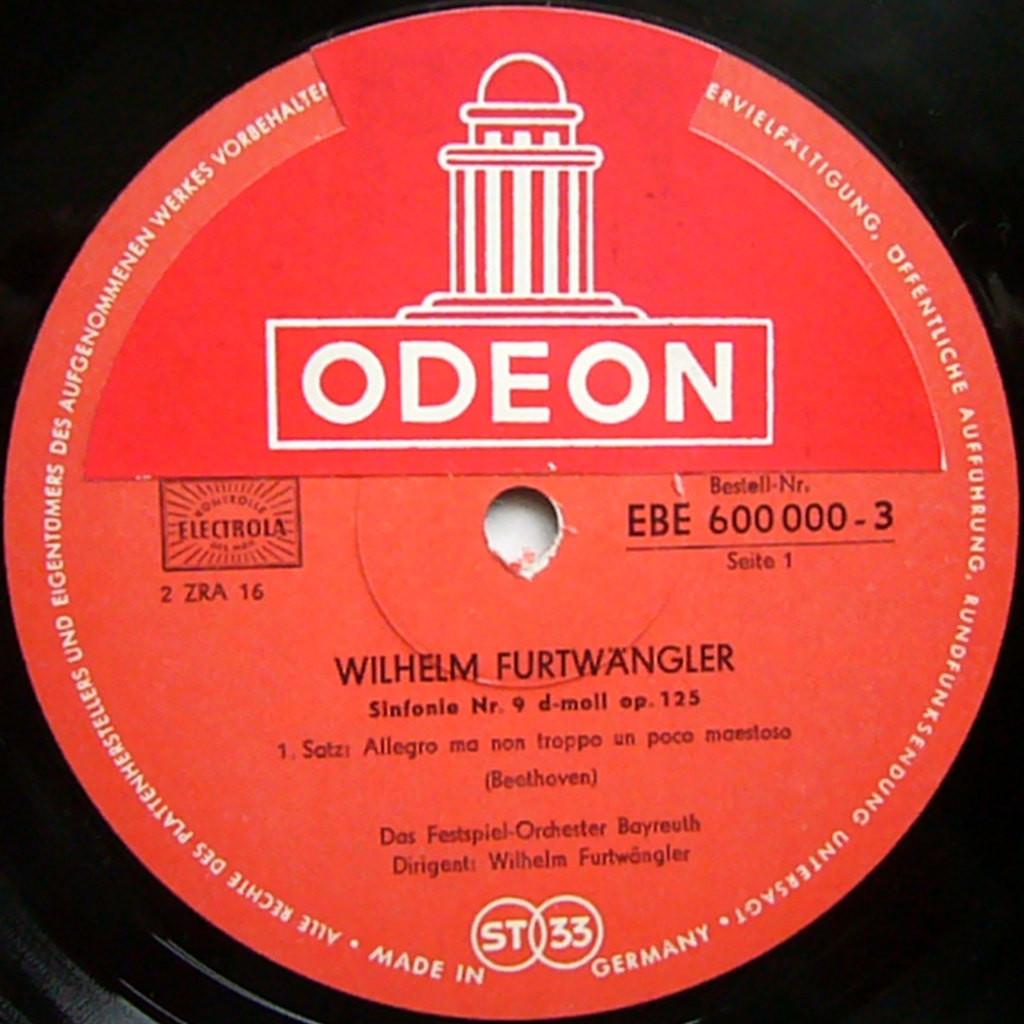 WILHELM FURTWANGLER Beetheven Symphony #9 Choral Live Rec.1951 GERMANY ODEON ST 2LP BOX NM