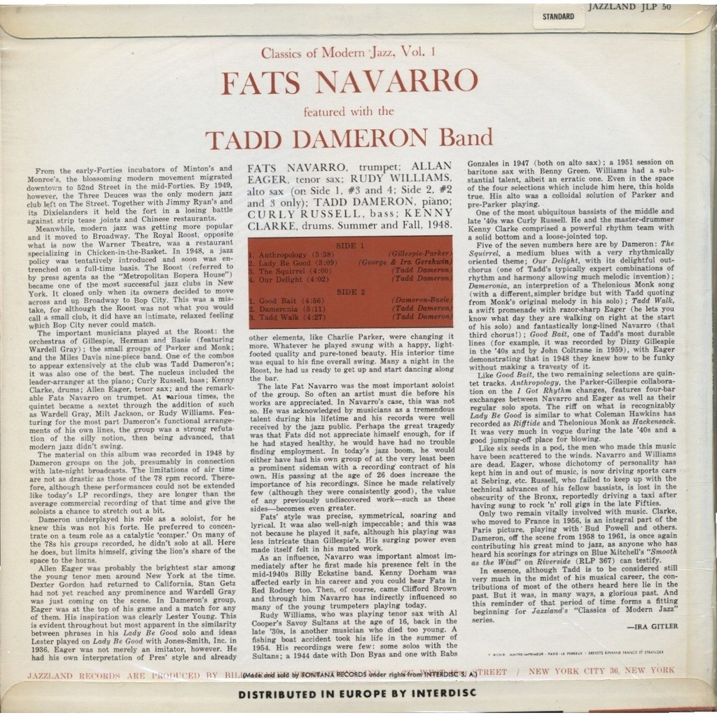 Fats navarro featured with the tadd dameron quintet for Modern house quintet