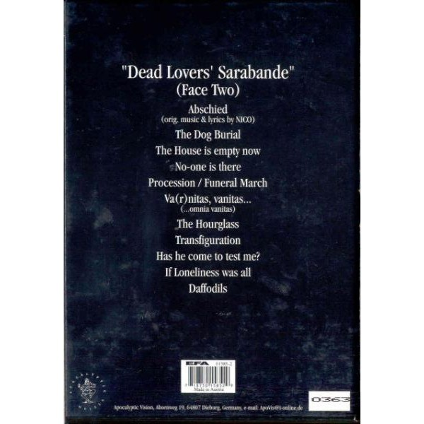 Sapor Aeternus & The Ensemble Of Shadows Dead Lovers' Sarabande (Face Two) (Austria 1999 Ltd 11-trk CD album long box set & booklet)