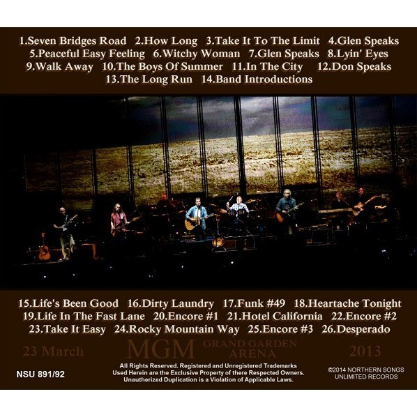... THE EAGLES LIVE MGM GRAND GARDEN ARENA 2013 3.23 2CD ...