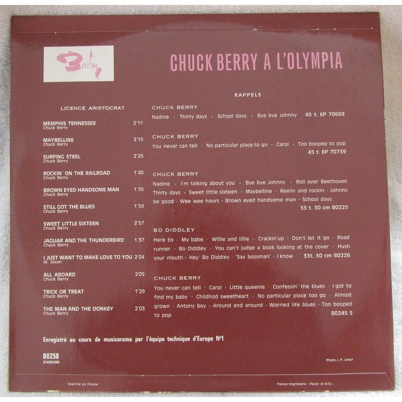 chuck berry chuck berry a l'olympia eddy mitchell presente les rois du rock , volume 5