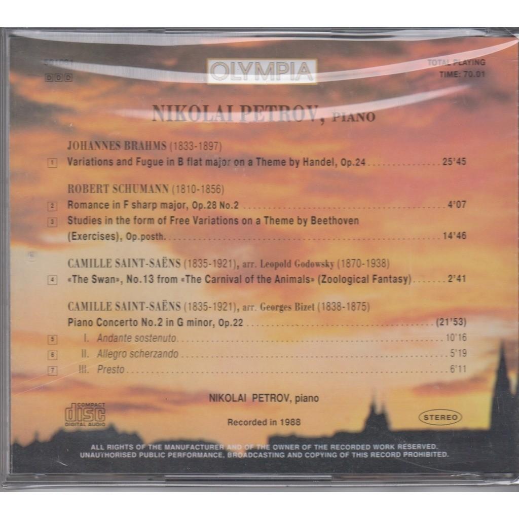 Brahms handel's variations, schumann beethoven's variations, saint-saens  the swan, piano concerto #2 by Petrov, Nikolai, CD with rarervnarodru