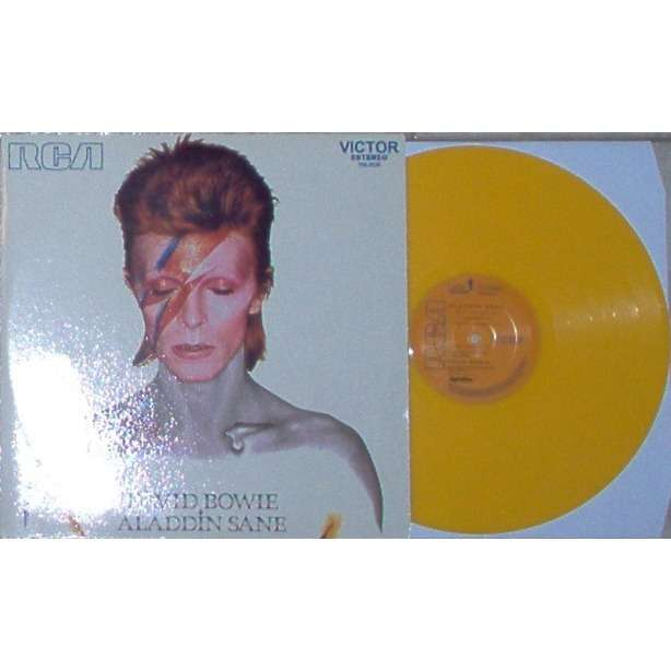 David Bowie Aladdin Sane (Brazil Ltd re 10-trk LP orange vinyl full unique single not gf ps)