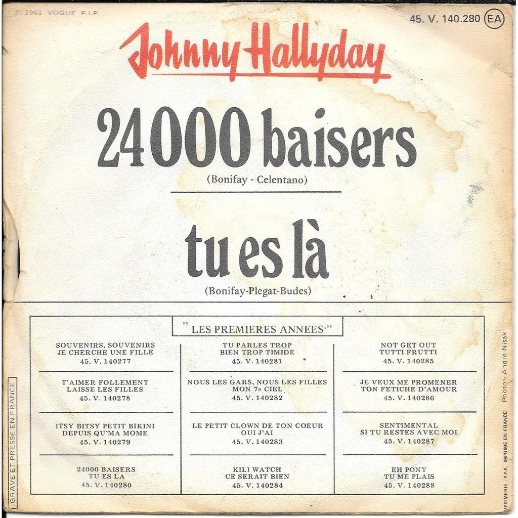 johnny hallyday 24000 baisers / tu es la