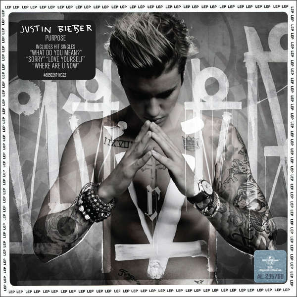 love is a four letter word album cover - purpose by justin bieber cd with techtone11 ref 117802670