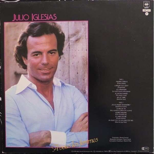 a vous les femmes by julio iglesias lp gatefold with yvandimarco ref 117822515. Black Bedroom Furniture Sets. Home Design Ideas
