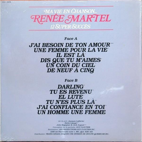 Ma Vie En Chansons 12 Super Succes De Renée Martel 33 13 Rpm Con Francophonies