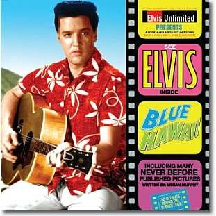 Inside blue hawaii box (dvd/45/book) by Elvis Presley, Book with roustaboutman - Ref:117894651