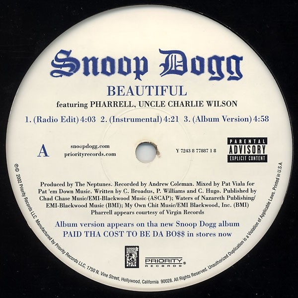 Beautiful featuring pharrell williams / ballin' by Snoop Dogg –, 12inch  with yvandimarco