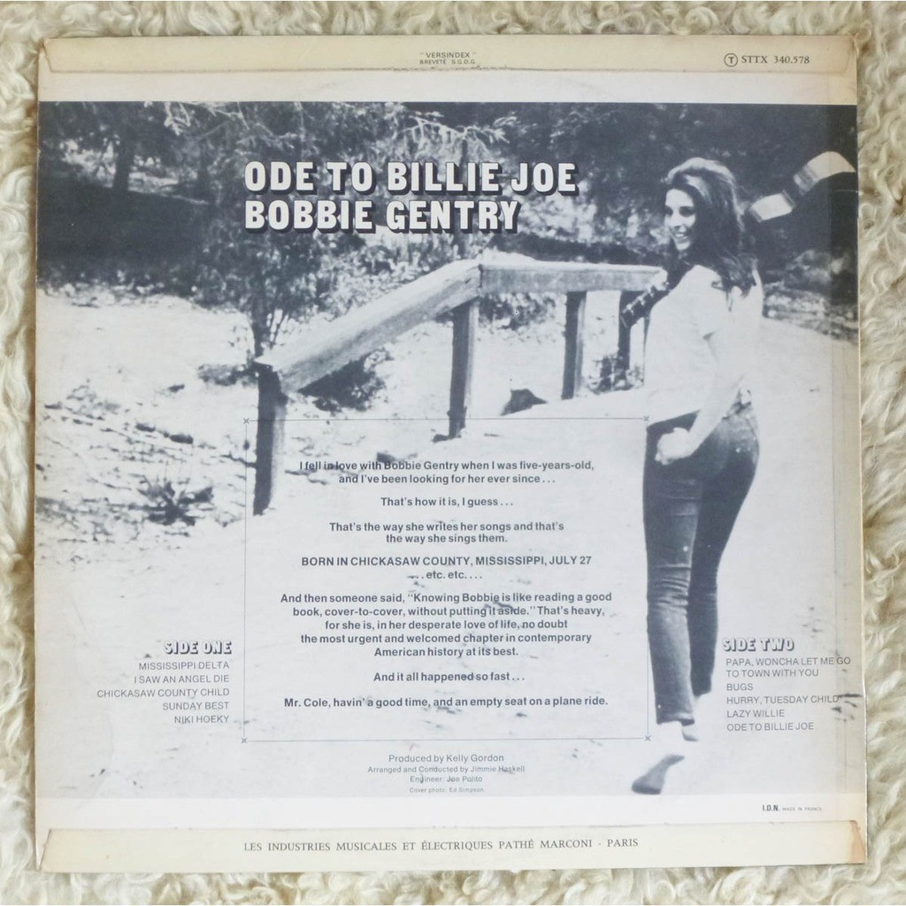 Ode To Billie Joe French Original By Bobbie Gentry Lp