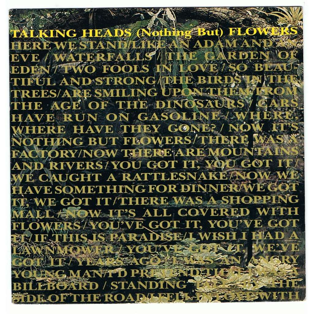 TALKING HEADS (NOTHING BUT) FLOWERS / RUBY DEAR -pochette vide/cover only-