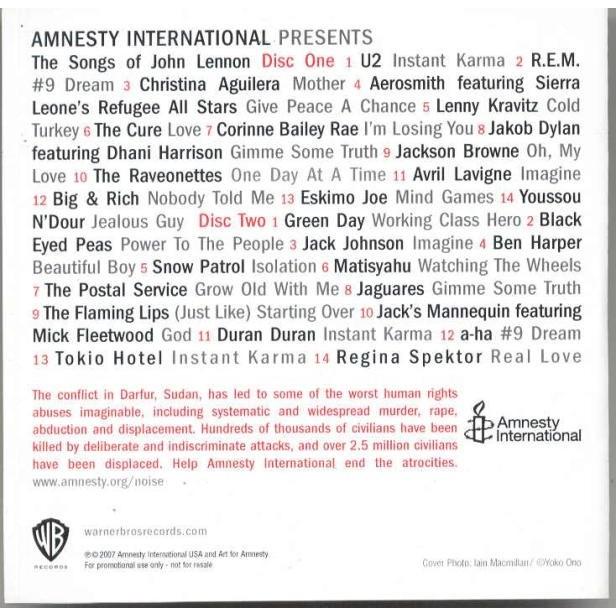 Beatles / John Lennon Instant Karma: Amnesty International To Save Darfur (UK 2007 28-trk 2CD-R Acetate Test Press & ps)