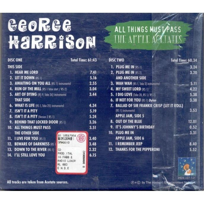 Beatles / George Harrison All Things Must Pass (The Apples Acetates)