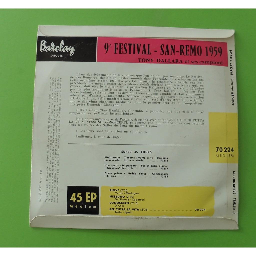 tony dallara FESTIVAL SAN REMO 1959 PIOVE + 3